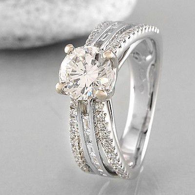 Ring with Brilliant 0,98 CT h-vvs2 & Diamond Band 0,44 CT TW-VSI in 18k WG