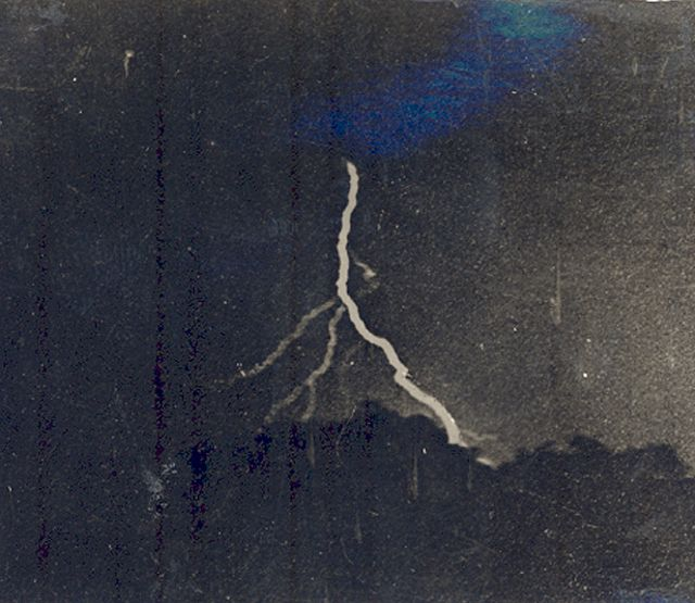 Lightning can be an exciting subject to capture and the first photographer to grab a snapshot did so in 1882. Photographer William Jennings used his findings to showcase that lightning was much more complicated than originally thought – notice how the lightning branches out in the above piece.