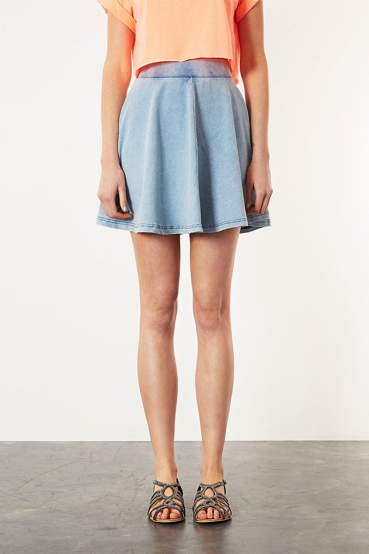 339k High Waisted Denim Look Skater - Skirts - Clothing - Topshop Indonesia