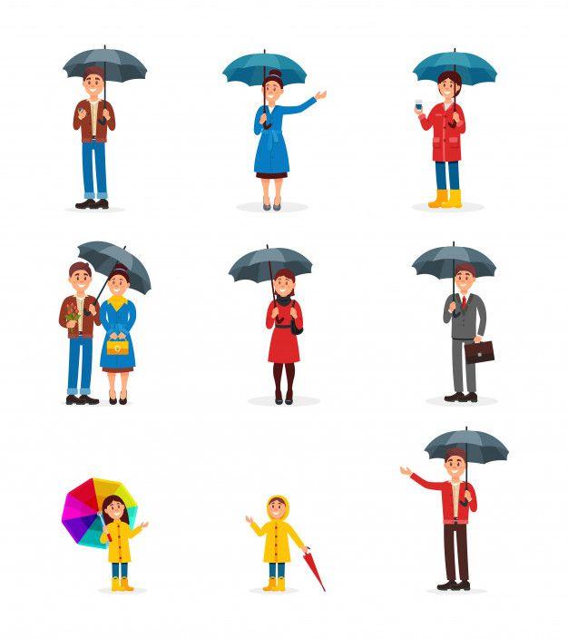 Conjunto De Personas Con Paraguas Hombr Premium Vector Freepik Vector Negocios Ninos Caminando Paraguas Dibujos Animados Personajes