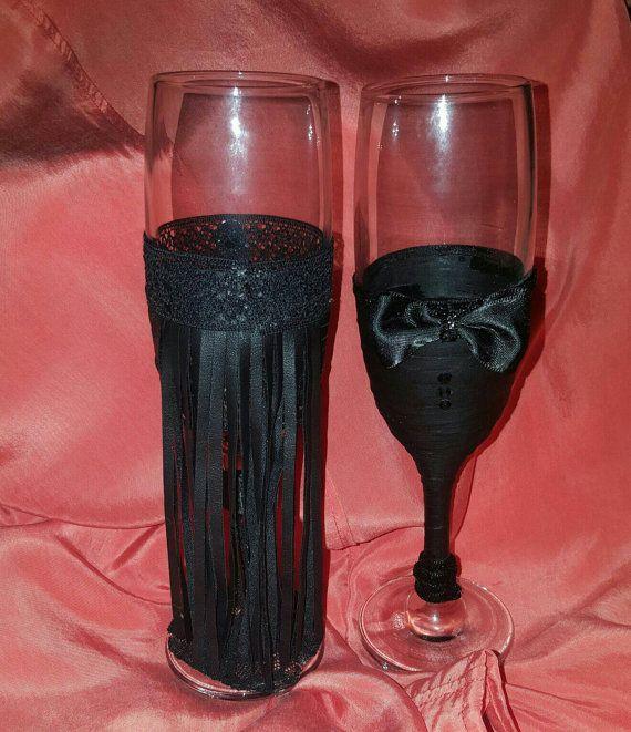 Guarda questo articolo nel mio negozio Etsy https://www.etsy.com/it/listing/467971936/bicchieri-champagne-di-pelle-nera-con
