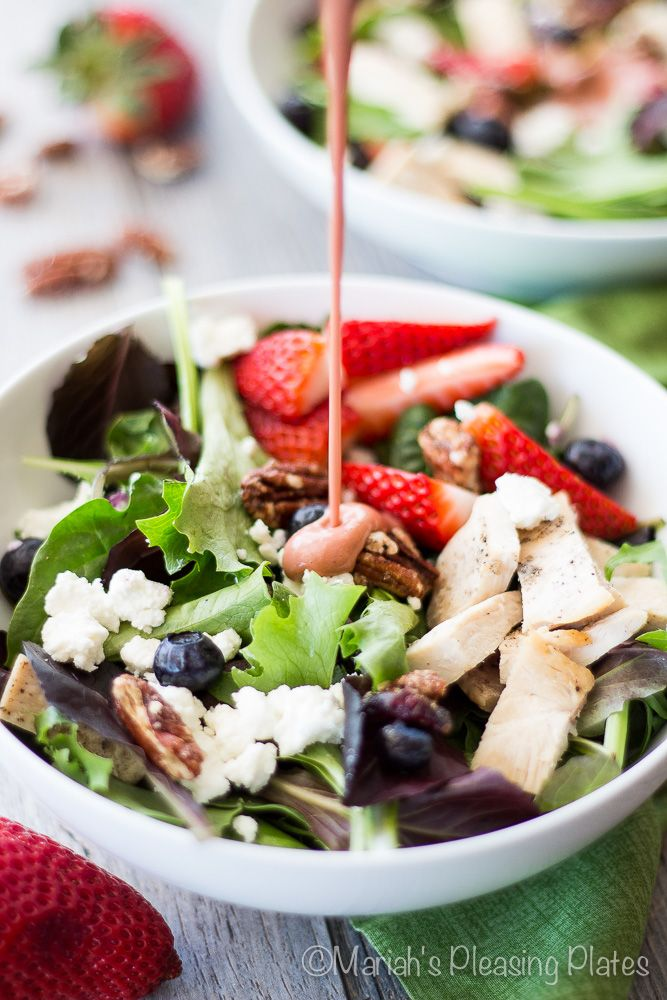 A sweet strawberry chicken salad filled with juicy strawberries, candied pecans, goat cheese, tender greens and a simple strawberry balsamic vinaigrette.