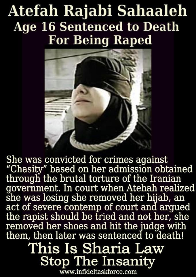 16 year old rape VICTIM hanged due to religious laws. Beyond deplorable.