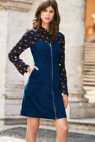 Denim Dark Blue Zip Front Pinny Dress