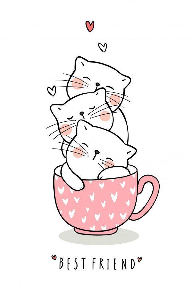 Zeichne Eine Bezaubernde Katze Um In Einer Tasse Zu Schlafe In