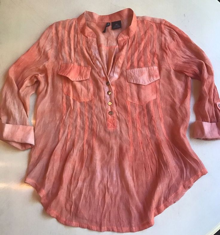 Women Shirt Top Tab Sleeve PM Petite Medium Spring Easter Peach Ombré #NewDirection #Blouse