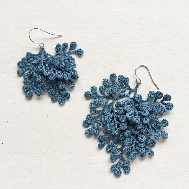 fujitamiho blue crochet jewelry art