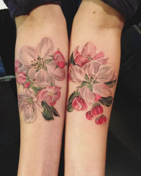 Complimentary Apple Blossom tattoos by Thea Duskin