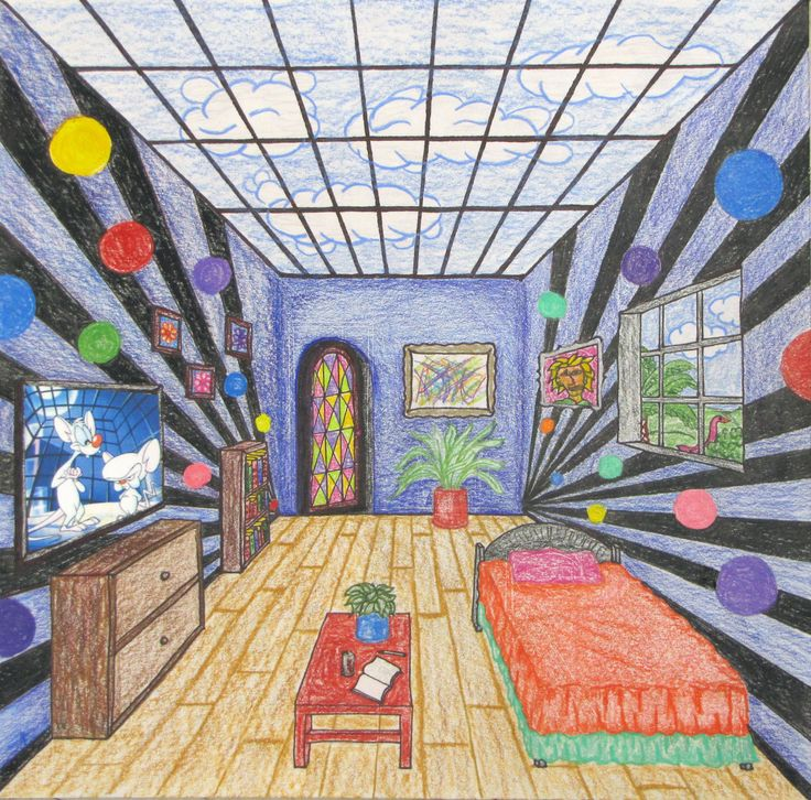 Fantasy Rooms in 1 point perspective reminds me Van Gogh- maybe could do a spin…