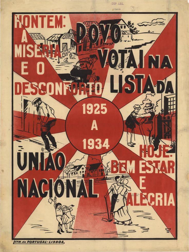 UNIAO NACIONALPovo votai na lista da União Nacional [Visual gráfico] : 1925 a 1934 : hontem - a miseria e o desconforto, hoje - bem estar e alegria. - [Lisboa] : U.N. 1934 (Lisboa : Lith. de Portugal. - 1 cartaz : color. ; 100x75 cm