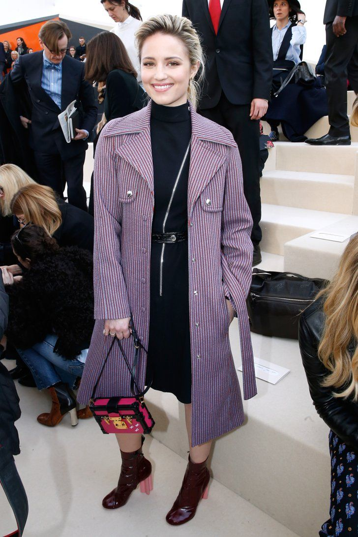 Pin for Later: See Every Celeb Who Sat Front and Center at Paris Fashion Week Dianna Agron Dianna added a pop of color to her dark hued Louis Vuitton ensemble with a striped purple coat and bright pink bag.