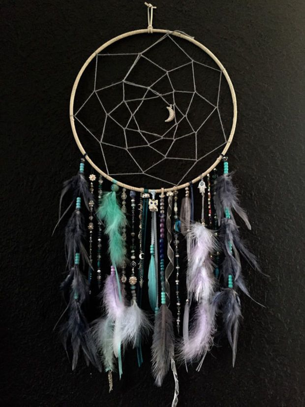 Silver blues Large Crystal Dream Catcher, tons of detail, moons, owl, arrows, feathers, hemp, leather, bedroom decor, home decor, hand made