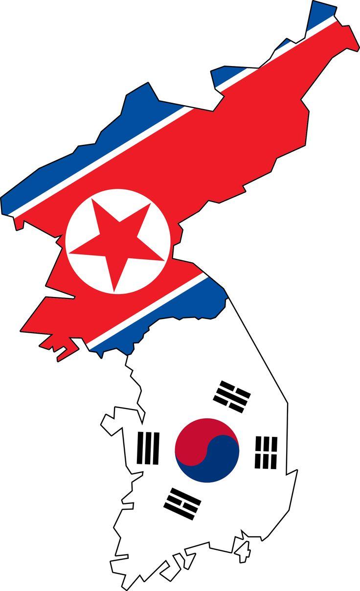 North and South Korea Flag | North & South Korea Flag Map (No Jeju)