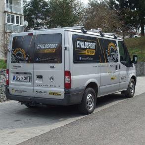 polep dodávky cyklosport pit-stop