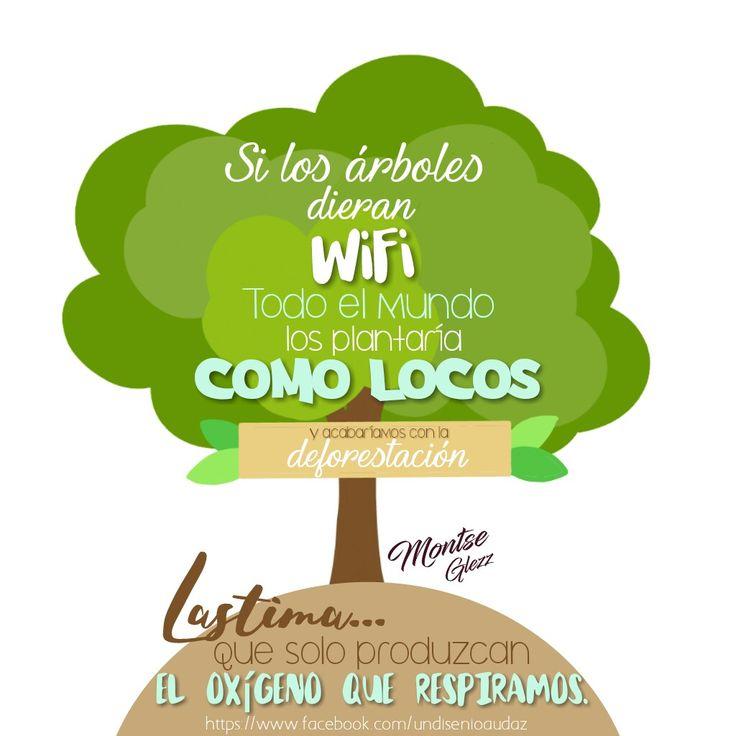 Carteles con frases Si los árboles dieran WiFi... Frases de ecología Frases de árboles Frases cortas