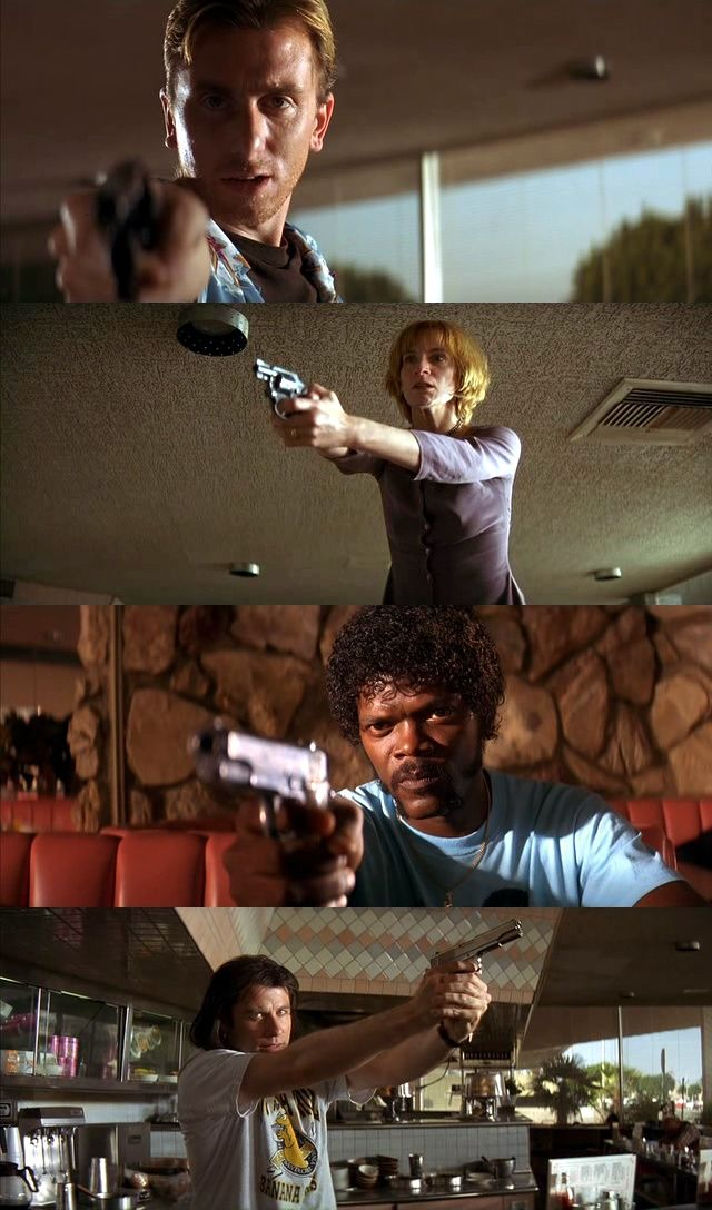Pulp Fiction - Mexican stand-off between Pumpkin; Honey Bunny; Jules Winnfield; and Vincent Vega in the Hawthorn Grill #GangsterMovie #GangsterFlick