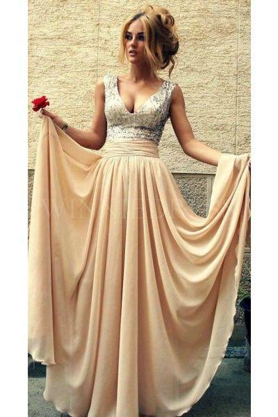 Empire Long Chiffon #Champagne V Neck Sequined #Prom Dress #winniedress