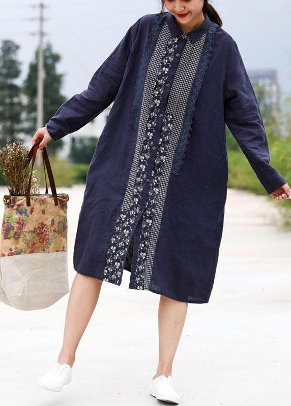 9463d2a4fbc Handmade linen Robes Fashion Retro Blue Splice Turn-down Collar Linen Dress  in 2019