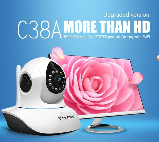 VStarcam C38A Full HD IP Camera P/T Memory storage IR-Cut Night Vision Audio record 960P Indoor Security Wireless Camera