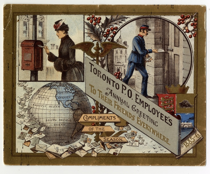 """This greeting card was sent from Toronto Post Office employees to """"their friends everywhere"""" in 1885, with compliments of the season."""