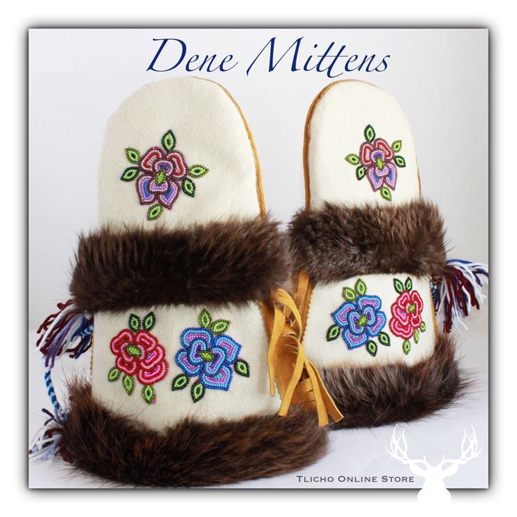 Mittens made by a #Tlicho #Dene elder from #Behchoko available on http://onlinestore.tlicho.ca