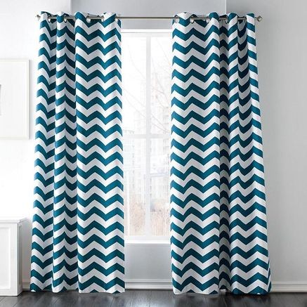 zig-zag patterned drapes, in teal or burgundy