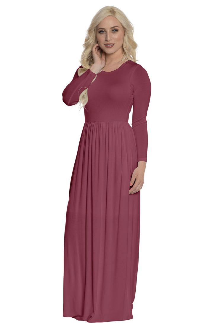 """""""Quinn"""" Long-Sleeved Modest Maxi Dress in Dark Rose (Light Burgundy)"""