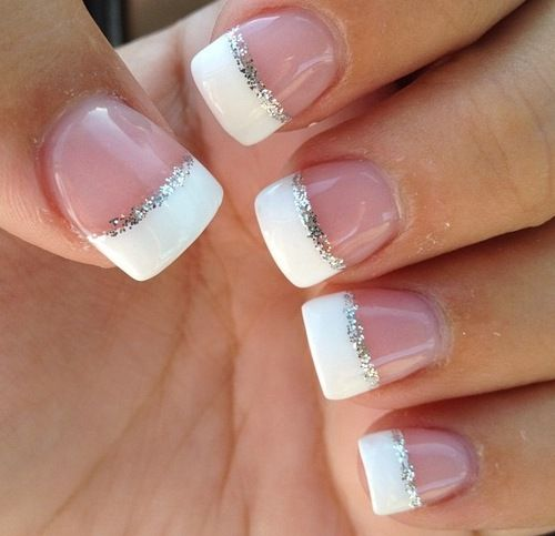 My all time favorite manicure...ever.  Simple but gorgeous...I would do it every day if I could just find a good way of getting the silver glitter right.....one of these days