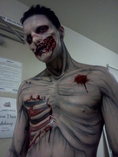 Zombie body makeup      A zombie makeup using a combination of body paint and prosthetic appliances.    <3__<3    Wow!