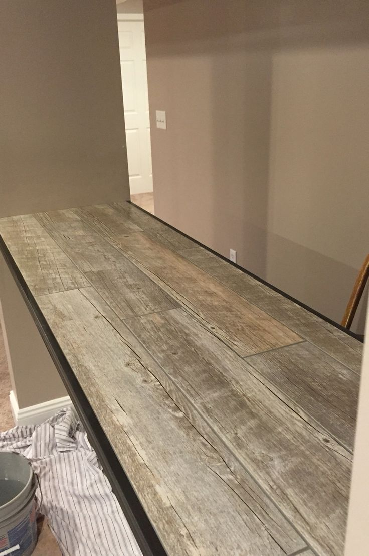 Ceramic Faux Wood Tile For A Bar Top Family Room