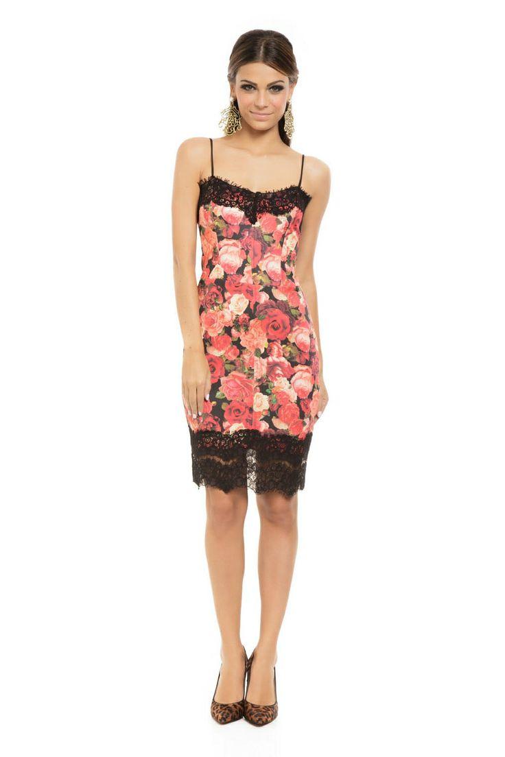 Vestido Curto Neoprene Renda Estampa Floral Vermelho - roupas-vestidos-iorane-f-vestido-curto-neoprene-renda-estampa-floral-vermelho Iorane