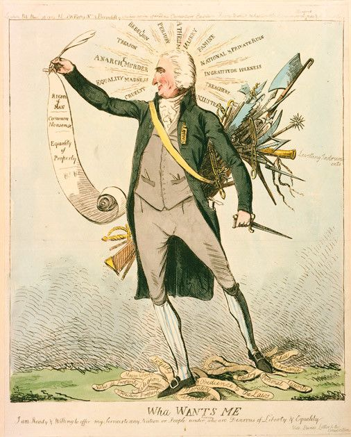 """Here's one from London in 1792 making fun of Tom Paine for his defending revolutionary France and appealing to the English to overthrow their monarchy too. Perhaps they were still smarting from the American Revolution that had succeeded in doing just in the original """"Brexit"""" a decade earlier. (Library of Congress)"""