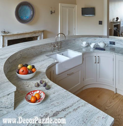 Fantasy Of River White Granite Countertops Bar, White Granite Worktops