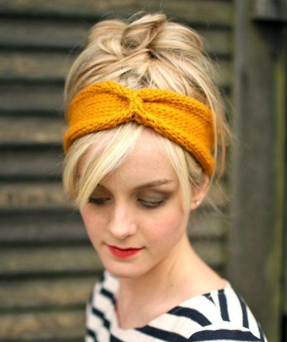 Knit Headband Turban  Sunshine Yellow   Chunky Wool by NeekaKnits