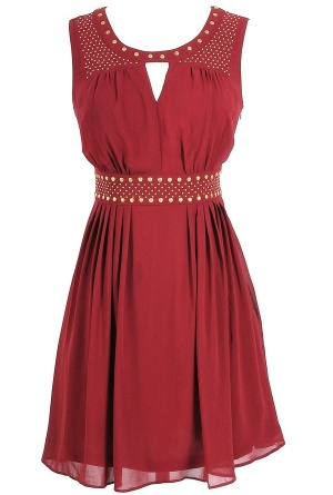 Gold Studded Chiffon Dress in Burgundy    www.lilyboutique.com