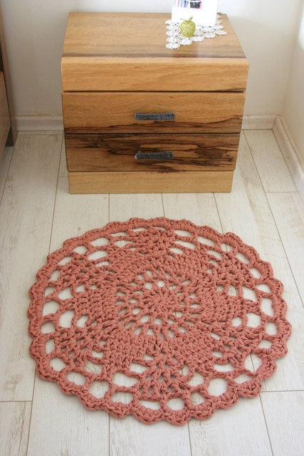 pink crochet rug