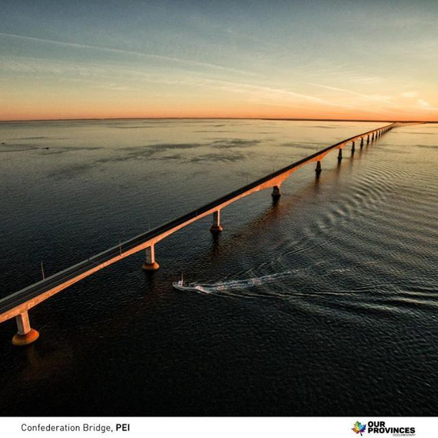 The Confederation Bridge joins the eastern Canadian provinces of Prince Edward Island and New Brunswick. The curved, 12.9 kilometre (8 mile) long bridge is the longest in the world crossing ice-covered water. ourprovinces#pei #princeedwardisland #maritimes #eastcoast #explorepei #truepei  #discoverpei #confederationbridge #charlottetown #charlottetownpei #downtowncharlottetown #peitourism #noisepei #maritimesbest #OurProvinces #OurProvincesDocumentary #imagesofcanada #ExploreCanada…