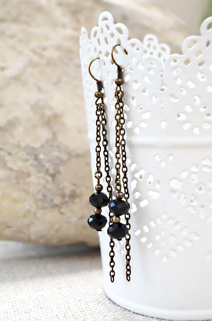 DIY - Kit pour la création d'une paire de Boucles d'oreilles Bronze - Perles à facettes en verre : Kits, tutoriels bijoux par bijoux-tresors