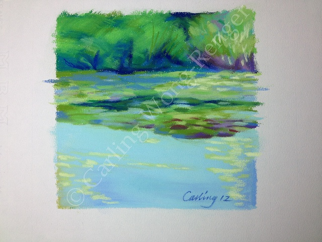 Plein Air Pastel Drawing - Early Evening at Heather Pond, VanDusen Garden by Carling Wong-Renger, via Flickr