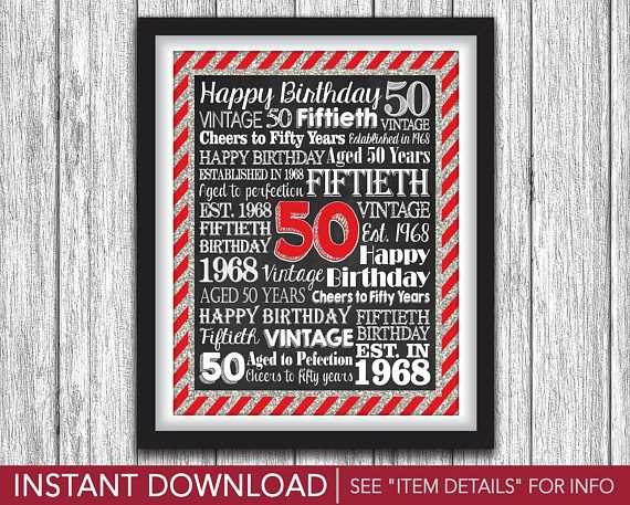 "50th Birthday Party Sign - Printable Aged 50 Years Birthday Party Decorations - 8""x10"" Fiftieth Birthday Sign - DIY Digital File by PuggyPrints"