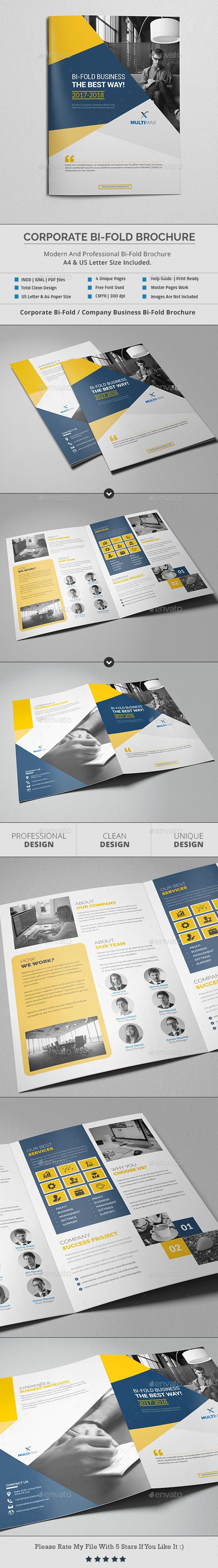 Bi-Fold Brochure Template - #Brochures Print #Templates Download here:  https://graphicriver.net/item/bifold-brochure-template/19419190?ref=alena994