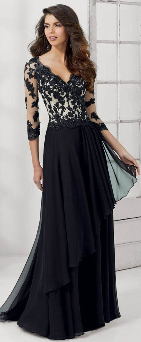 NEW! Gorgeous Tulle & Chiffon V-neck Neckline 3/4 Length Sleeves A-line Mother Of The Bride Dresses With Beaded Lace Appliques