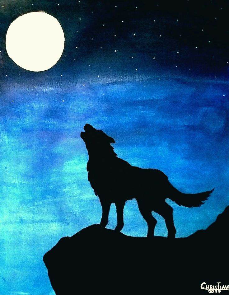 Painting Wolf In The Moonlight In 2019 Moonlight