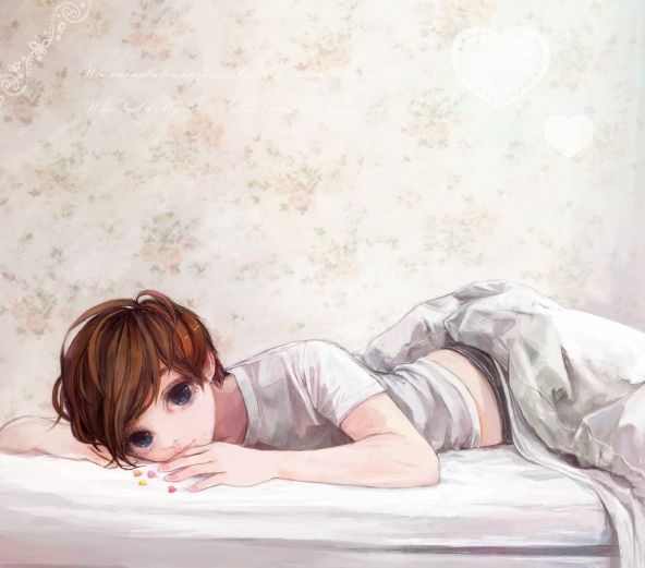 ✮ ANIME ART ✮ pretty girl. . .realism. . .short hair. . .pajamas. . .bed. . .waking up. . .cute. . .kawaii