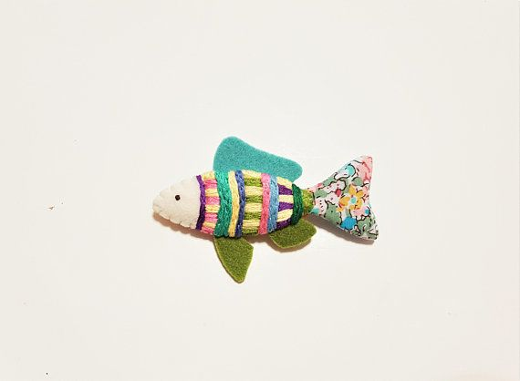 Fish Brooch. Embroidered Pastel Brooch. Colourful Fish. Hand Embroidered. Cute Sea Creature Jewelry. Geometric. Felt Fabric.