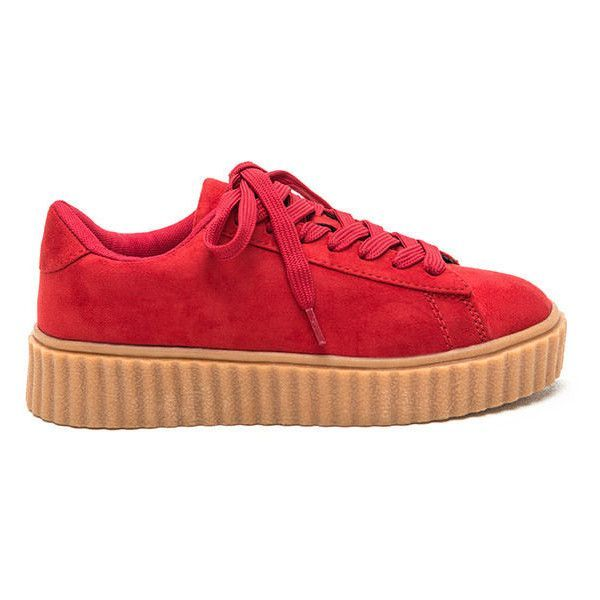 Jeepers Creepers Platform Sneakers ($23) ❤ liked on Polyvore featuring shoes, sneakers, red, platform shoes, low profile sneakers, red platform shoes, vegan sneakers and lace up sneakers