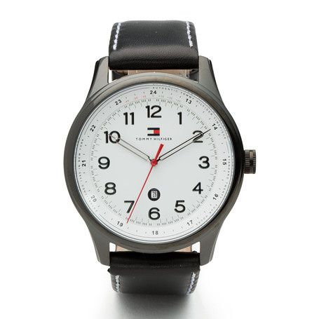 Stylish men's quartz watch Tommy Hilfiger logo inside the dial Round, ionic plated black steel case Case size: 44 mm Brown leather strap Water resistant: 3 ATM (30 meters)