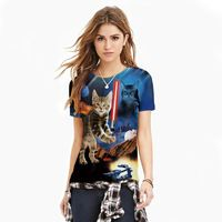 2016 new summer tops 3D printed cartoon fashion Tshirt women plus size cat design couple Tees o-neck short sleeve T-shirt