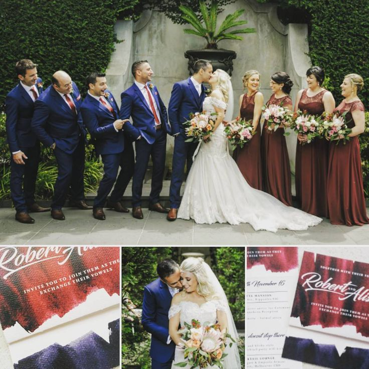 """Burgandy and navy wedding colour theme.  Natural botanical native bouquets. Gumleaves, king and queen proteas,  pastel pink, cream, mint, leucadendrons flowers, wax buds.. messy, organic,  unique, beautiful, elegant,  large, medium, modern, bridal and bridesmaid flowers.    (@alishaperris_creativestudio) on Instagram: """"As someone with a creative eye, it was natural to keep a consistent colour palette throughout our…"""""""