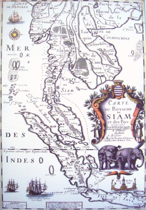 Siam/Thailand map. I've been to Bangkok and Chaing Mai